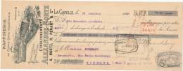 228/20 - Mandat à Ordre Illustré LA CAPELLE En Thiérache 1910 - Entete Raffinerie De Corps Gras Nortz  - TP Fiscal 5 C. - Fiscale Zegels