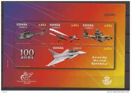 ES4653-LB166TMIO.Spain.Espagne .HOJA  100 ANIVERSARIO,AVIACION MILITAR ESPAÑOLA.2011.(Ed 4653**)MUY BONITA - Militares