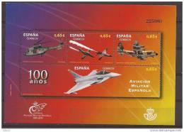 ES4653-LB166TMISC.Spain.E Spagne .HOJA  100 ANIVERSARIO,AVIACION MILITAR ESPAÑOLA.2011.(Ed 4653**)MUY BONITA - Militares