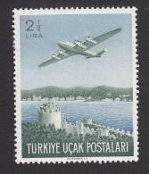 Turkey, Scott #C18, Mint Hinged, Plane Over Rumeli Hisari Fortress, Issued 1950 - 1921-... Republic
