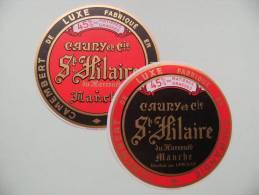2 Etiquettes Camembert Ancienne - Cauny Et Cie - Laiterie De St-Hilaire Du Harcouët  50   A Voir ! - Formaggio