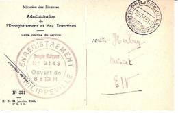 PHILIPPEVILLE  Ministere Des Finances  Administration De L'Enregistrement Et Des Domaines  Caete Postale De Service - Philippeville