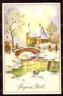 Joyeux Noël - Eglise, Pont, Rivière Et Diligence - Circulé - Circulated - Gelaufen - 1952 - Navidad