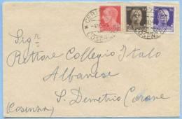 1944 LUOGOTENENZA IMPERIALE C. 20+30+50 DA CERISANO (COSENZA) 4.10.44 A S. DEMETRIO 4.10.44 TRICOLORE SPLENDIDA (5462) - Storia Postale