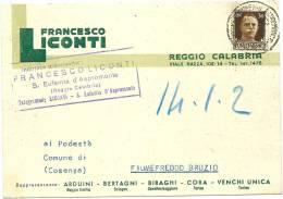 PUBBLICITARIA COMMERCIALE 1943 REGGIO CALABRIA CARTOLINA POSTALE F.LICONTI - Marcophilie