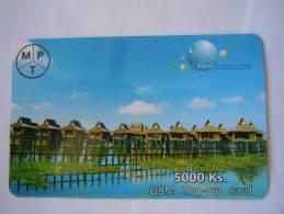 Myanmar Birmanie Burma Birma Village Lake NO Brown Color 5000 Ks Mobile GSM Prepaid TOP UP Card EXP: 10.6.2013 - Myanmar