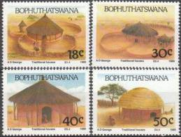 South Africa SA Bophuthatswana 1989 Traditional Houses House Achitecture Culture Stamps MNH SG 227-230  Michel 227-230 - Bophuthatswana