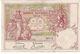 Billet De 20fr, 8-juil-20 - [ 2] 1831-... : Koninkrijk België