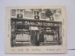 CARTE COMMERCIALE PAUL ROTTIER 146 RUE RIVOLI PARIS BIJOUTIER JOAILLERIE 1937 - Visiting Cards