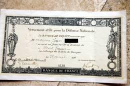 Versement D'Or Pour La Défense Nationale Albi 1916 - Banque & Assurance