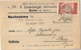 """NN Karte  """"Unterberger, Buchhandlung, Buchs SG - Volkskalender Pfr Künzle""""             1924 - Suisse"""