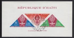 Haiti Used Scott #C190a Imperf Souvenir Sheet Of 3 Malaria Eradication With Inscription At Bottom - Haïti
