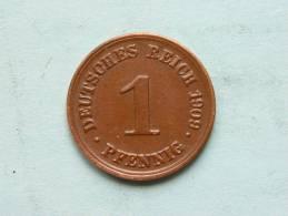 1909 D - 1 Pfennig / KM 10 ( Uncleaned - For Grade, Please See Photo ) ! - [ 2] 1871-1918: Deutsches Kaiserreich