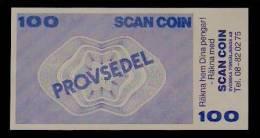 """Test Note """"SCANCOIN"""" 100 Units, Beids. Druck, RRRRR, Typ C = 140 X 72 Mm, Mit Rekl., UNC, Sehr Alt! - Schweden"""