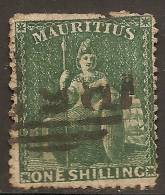 Maurice (Mauritius) 1862 - 1sh Vert Dentelé Britannia - Sc#23 Cote 400$ - Maurice (...-1967)