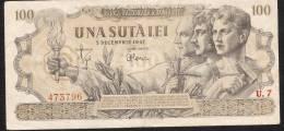 ROUMANIE ROMANIA P67  100 LEI  5.12.1947  VF   NO P.h. !! - Romania