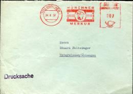 Germany, Red Meter Ema Freistempel, 1957 Munchen  Merkur  Mercure,  Mythology,  On Circuled Cover - Mythologie