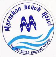 CYPRUS LIMASSOL MARATHON BEACH HOTEL VINTAGE LUGGAGE LABEL - Hotel Labels