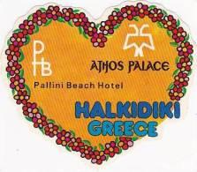 GREECE HALKIDIKI HOTELS PALLINI BEACH & ATHOS PALACE SMALL VINTAGE LUGGAGE LABEL - Hotel Labels