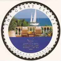 CYPRUS LARNACA GOLDEN BAY BEACH HOTEL VINTAGE LUGGAGE LABEL - Hotel Labels