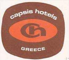 GREECE CAPSIS HOTELS VINTAGE LUGGAGE LABEL - Hotel Labels