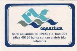 COLUMBIA SAN ANDRES ISLA HOTEL AQUARIUM VINTAGE LUGGAGE LABEL - Hotel Labels
