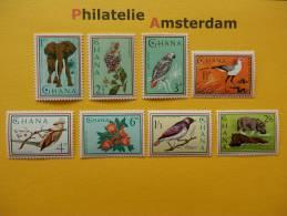 Ghana 1964, FAUNA FLORA BIRDS MAMMALS OISEAUX VOGELS VÖGEL AVES OLIFANT NIJLPAARD: Mi 198-05, ** - Ohne Zuordnung