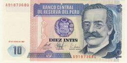 BILLET # PEROU # 1987 # DIEZ INTIS # 10 INTIS # NEUF # RICARDO PALMA - Pérou