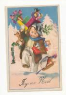 Joyeux Noël. Petite Fille, Cadeaux, Polichinelle, Petit Train, Perroquet, Trèfle,.... Signée MAuzan - Mauzan, L.A.