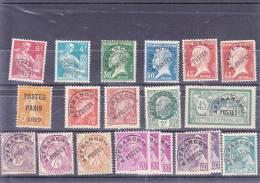 34 Timbres Préoblitérés Différents Entre N° 30 Et 118 Bonne Qualité - 1893-1947
