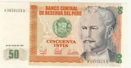 BILLET # PEROU # 1987 # CINCUENTA INTIS  # CINQUANTE INTIS # NEUF #NICOLAS DE PIEROLA - Pérou