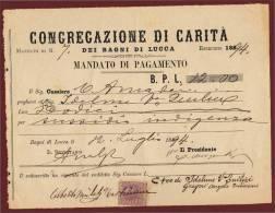 1894 - BAGNI DI LUCCA - CONGREGAZIONE DI CARITA´ - RARO MANDATO DI PAGAMENTO IN BOLLO - Documentos Históricos