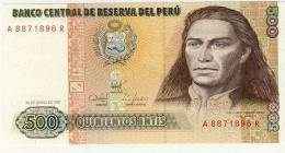 BILLET # PEROU # 1987 # QUINIENTOS INTIS  #  CINQ CENT INTIS # NEUF #JOSE GABRIEL CONDORCANQUI - Pérou