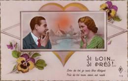 Carte Photo - Couple - Pensées - Si Loin Si Près PF Paris N°713 - Couples