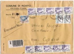 2001 - Comune Di Rovito - Raccomandata Donne EURO/LIRE 1000 + 450 X10 + 100x2 - 6. 1946-.. Republik