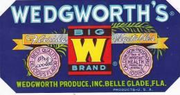 Big W Brand Vegetables Wedgeworth Produce Belle Glade Florida Vintage Vegetable Label - Fruits Et Légumes