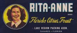 Rita Anne Brand Citrus Lake Region Packing Association Tavares Florida Vintage Fruit Label - Fruits Et Légumes