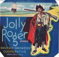 Jolly Roger Citrus Waverly Growers Coop Waverly Florida Vintage Fruit Label - Fruits Et Légumes