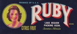 Ruby Brand Citrus Lake Region Packing Association Tavares Florida Vintage Fruit Label - Fruits Et Légumes