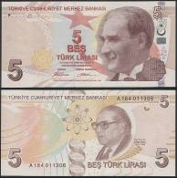 Turkey P 222 - 5 Lira 2009 - UNC - Turchia