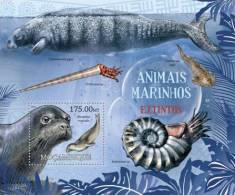 m12222b Mozambique 2012 Extinct Marine Animals s/s Shell Seal  Yvert&Tellier: 557