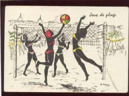 Beach-volley Illustrée Par E.capry , Jeux De Plage - Volleyball