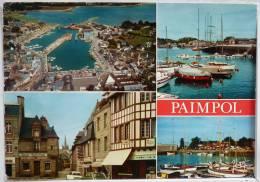 Paimpol Multi Vues Port Place Martray Voiture Commerce Voyagé 1977 Timbre Cachet Flamme Binic - Paimpol