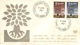 FDC World Refugee Year 1959/60, Colombo, 7 Apr 1960 - Sri Lanka (Ceylan) (1948-...)