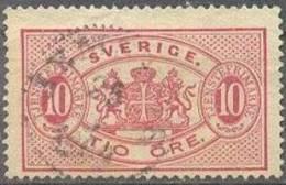 1881 Second Issue 10 Öre Mi 5Bb /Facit TJ16B / Sc O17  / YT 5 Used / Oblitéré / Gestempelt [hod] - Service