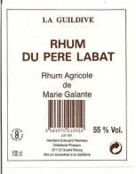 Etiquette  RHUM Du Père Labat - Rhum Agricole Marie Galante - La Guildive - 55° -  GUADELOUPE - - Rhum