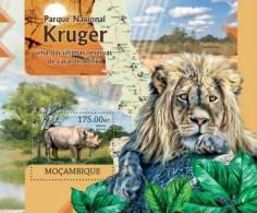 m12322b Mozambique 2012 Kruger National Park s/s Rhinoceros Lion Yvert&Tellier: 608