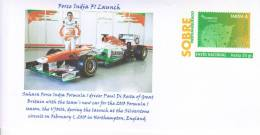 Spain - Unused Prepaid Envelope - 2013 F1 Launch - Force India VJM 06  -  Paul Di Resta - Automobile