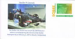 Spain - Unused Prepaid Envelope - 2013 F1 Launch - Sauber-Ferrari C32 - Nico Hulkenberg - Estaban Gutierrez - Automobile