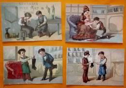 Chromo  Fin 19°/ Lot De 4 / Magasin De Chaussure Toulon / Laas / Vendeur Essayge Botte Bottine Chausson Enfant - Autres